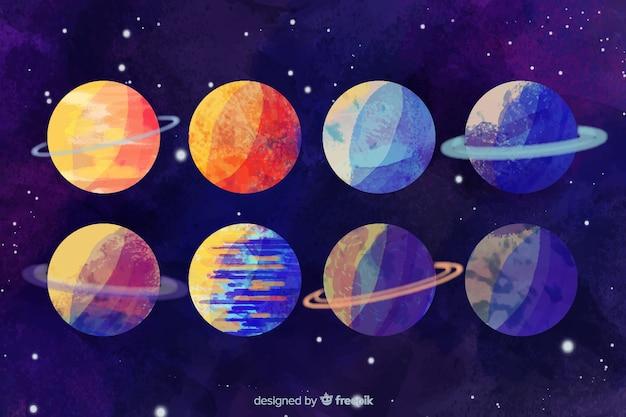 水彩の異なる惑星コレクション 無料ベクター