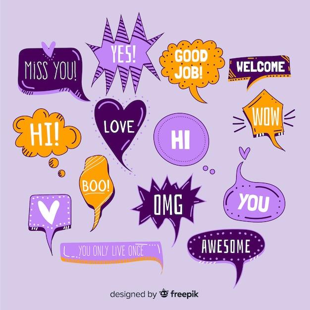 Ручной обращается речи пузыри с разными выражениями Бесплатные векторы
