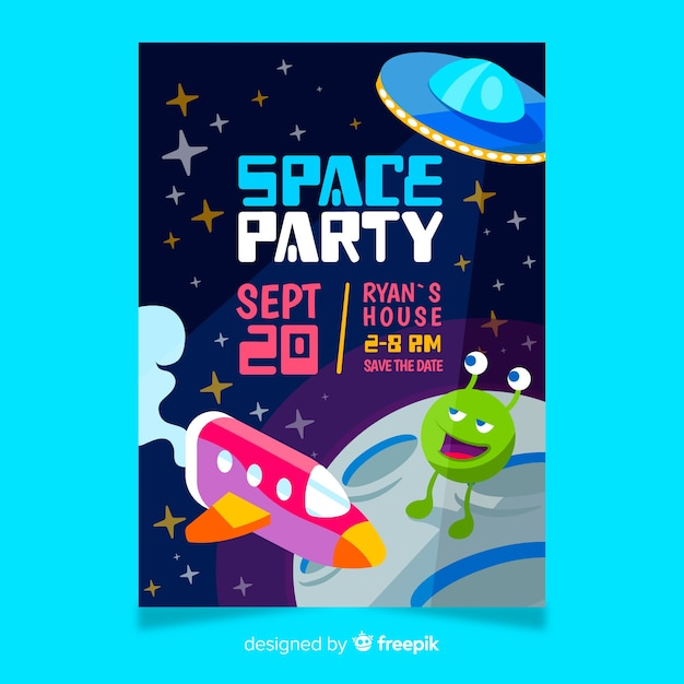 Приглашение на день рождения для маленького мальчика с космической темой Бесплатные векторы