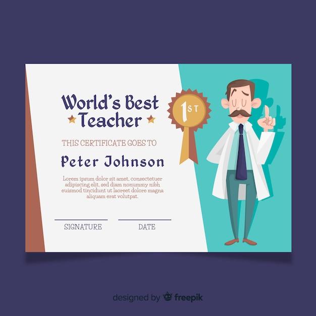 世界最高の教師の卒業証書 無料ベクター