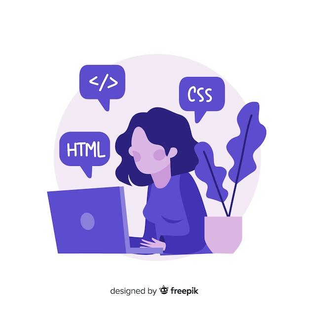 働く女性プログラマーのカラフルなイラスト 無料ベクター