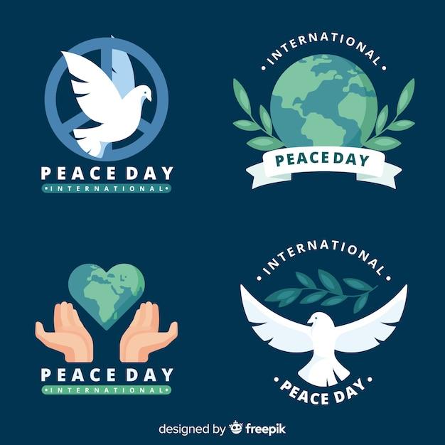 Плоский значок коллекции день мира Бесплатные векторы