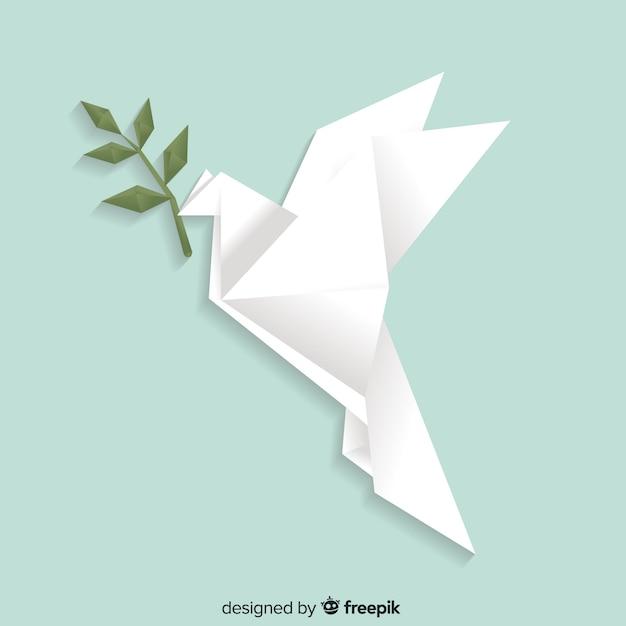 折り紙の鳩と平和の日の概念 無料ベクター