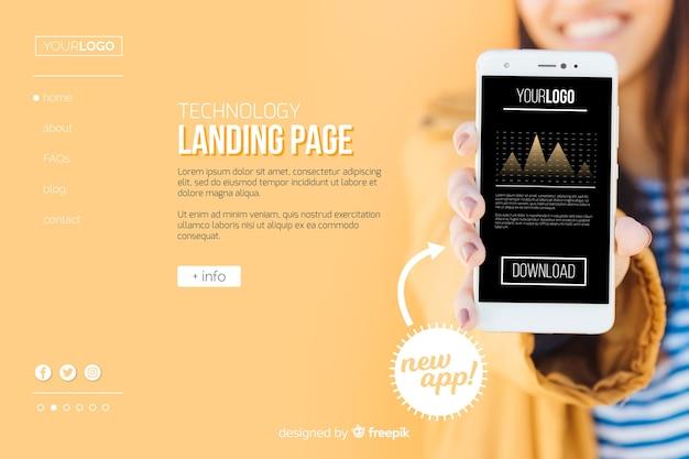 モバイルアプリテクノロジーのランディングページ 無料ベクター