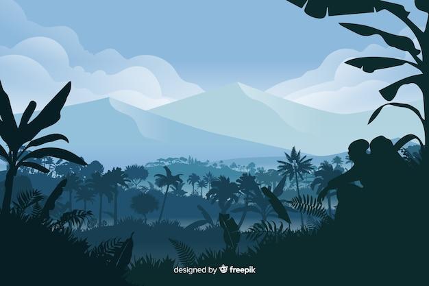 森林景観と自然な背景 無料ベクター