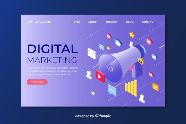 等尺性デザインのデジタルマーケティングのランディングページ 無料ベクター