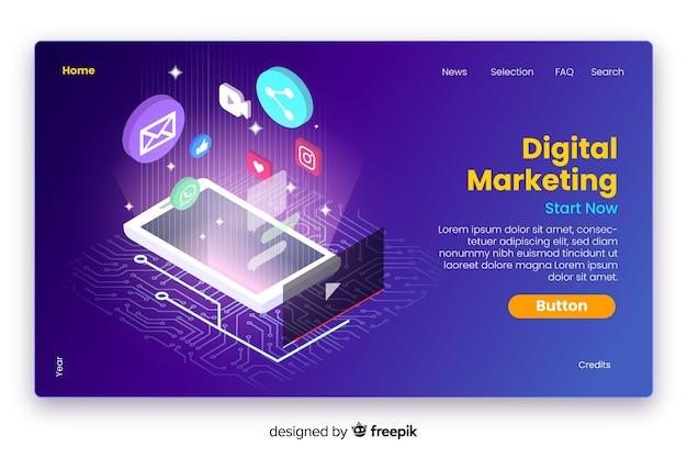 等尺性デジタルマーケティングのランディングページ 無料ベクター
