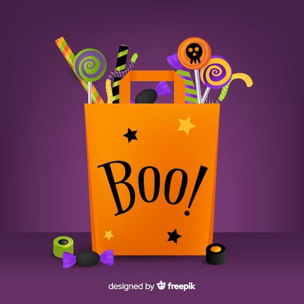 Плоская сумка для хэллоуина с бу! котировка Бесплатные векторы