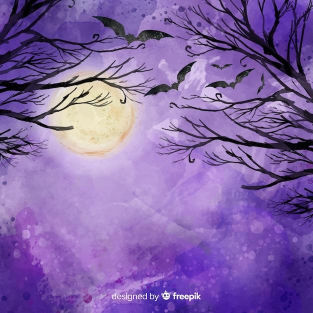 Счастливый хэллоуин фон с ветвями и летучими мышами Бесплатные векторы