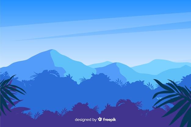 青い山と熱帯林の風景 無料ベクター