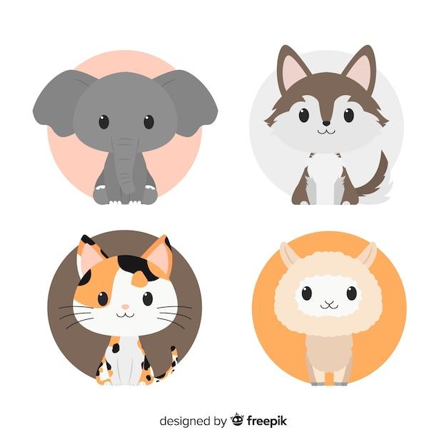 フラットなデザインの手描きのかわいい動物セット 無料ベクター
