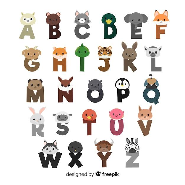 フラットなデザインの動物の手紙のコレクション 無料ベクター