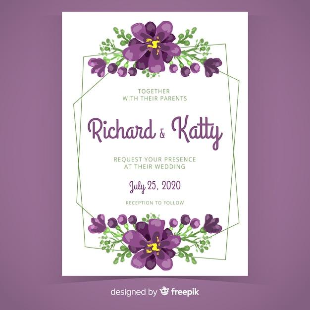 Фиолетовый ручной росписью цветочная рамка свадебное приглашение Бесплатные векторы
