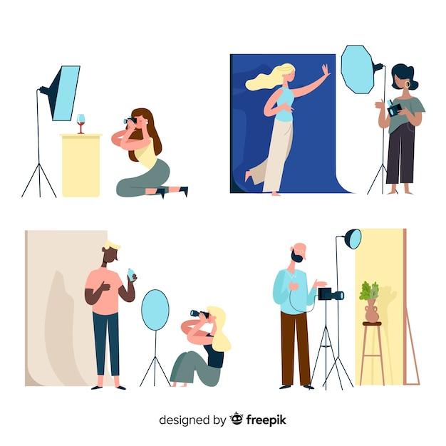 さまざまなモデルのショットを撮る写真家のコレクション 無料ベクター