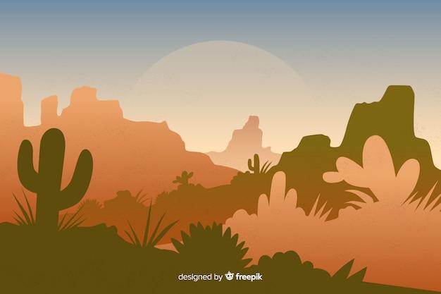 サボテンと植物の砂漠の風景 無料ベクター