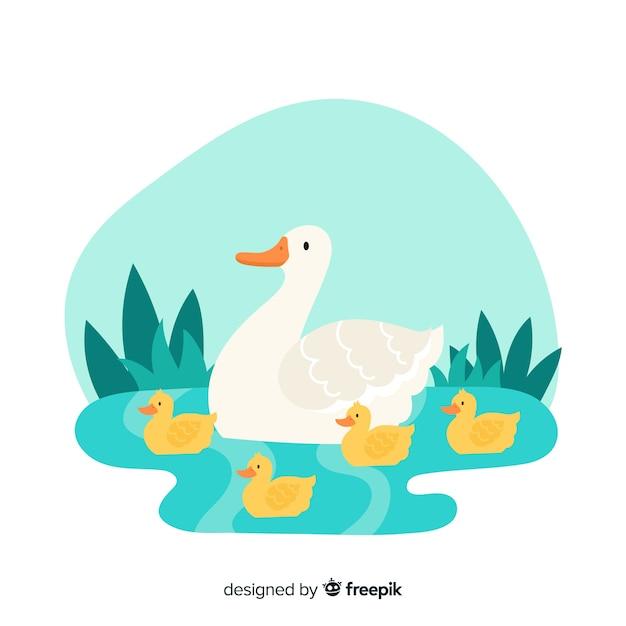母鴨と水で一緒に彼女のひな 無料ベクター
