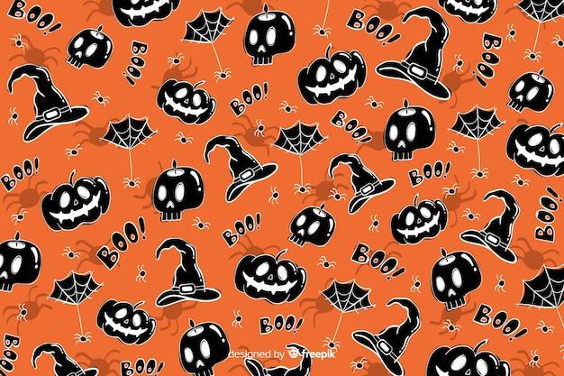 手描きのハロウィーン背景シームレスパターン 無料ベクター