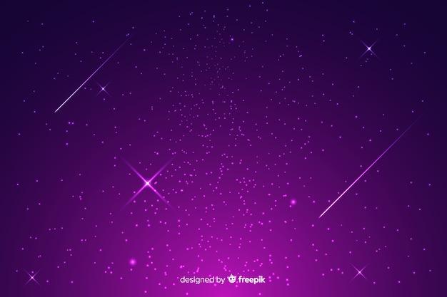 Фиолетовый градиент звездной ночи фон Бесплатные векторы