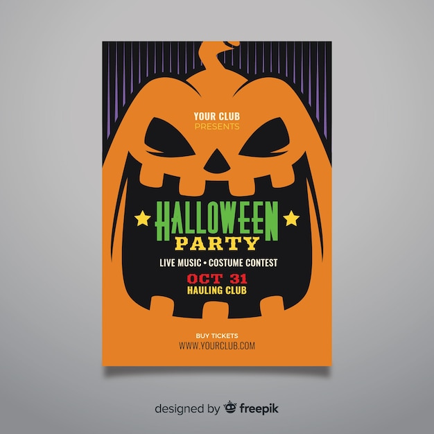 Крупным планом тыквы лицо хэллоуин плакат Бесплатные векторы