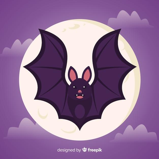 Плоская летучая мышь на хэллоуин перед полной луной Бесплатные векторы
