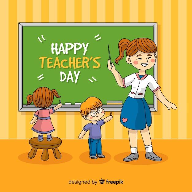 Концепция день учителя с рисованной фоном Бесплатные векторы