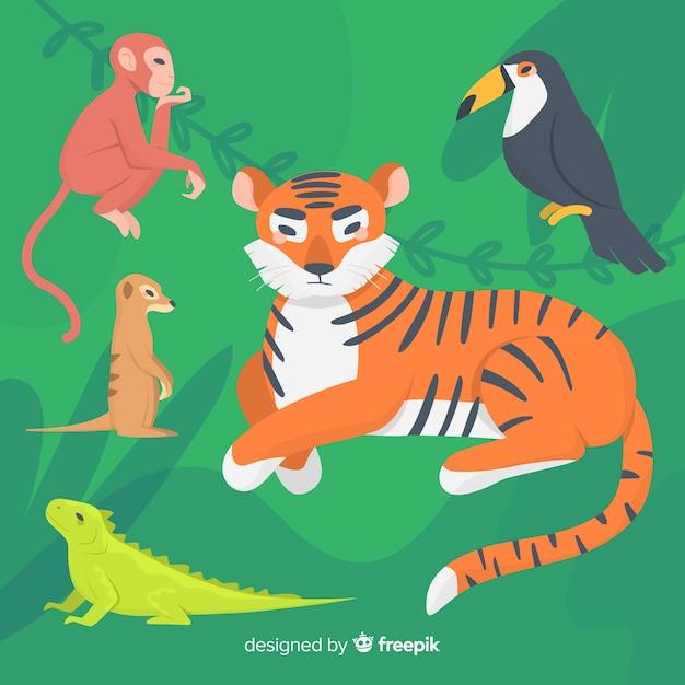 フラットなデザインのカラフルな動物イラストセット 無料ベクター