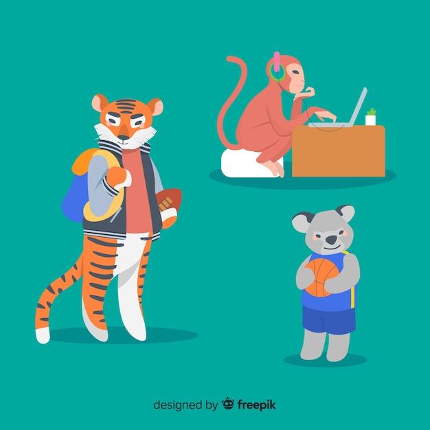 学校でのイラスト入り動物のパック 無料ベクター