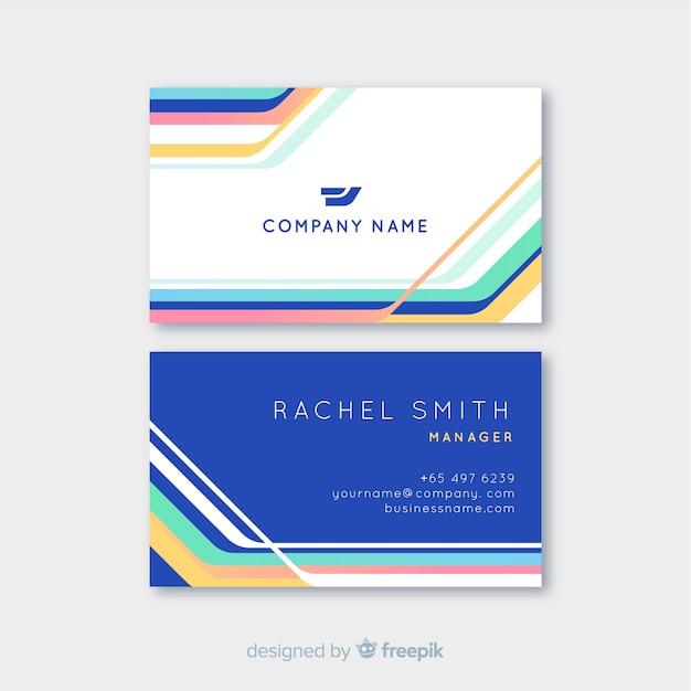 Красочный шаблон визитной карточки с логотипом Бесплатные векторы