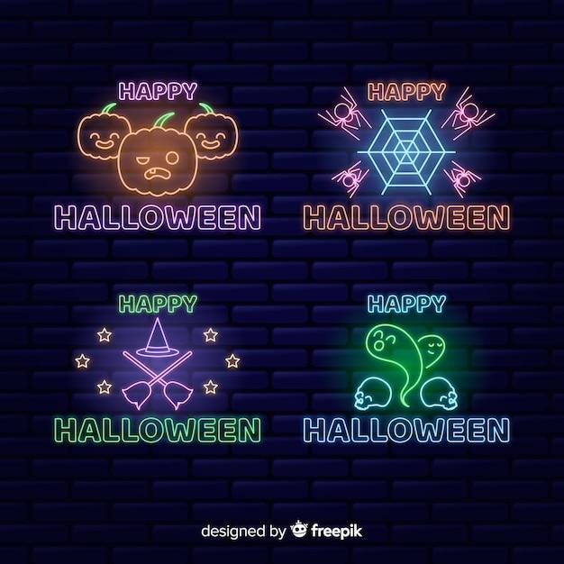 Хэллоуин концепция неоновая вывеска Бесплатные векторы