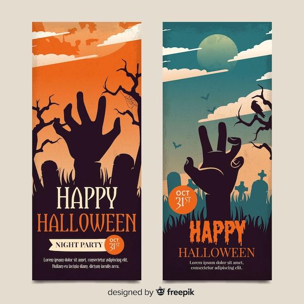 Старинные хэллоуин рука зомби баннеры Бесплатные векторы