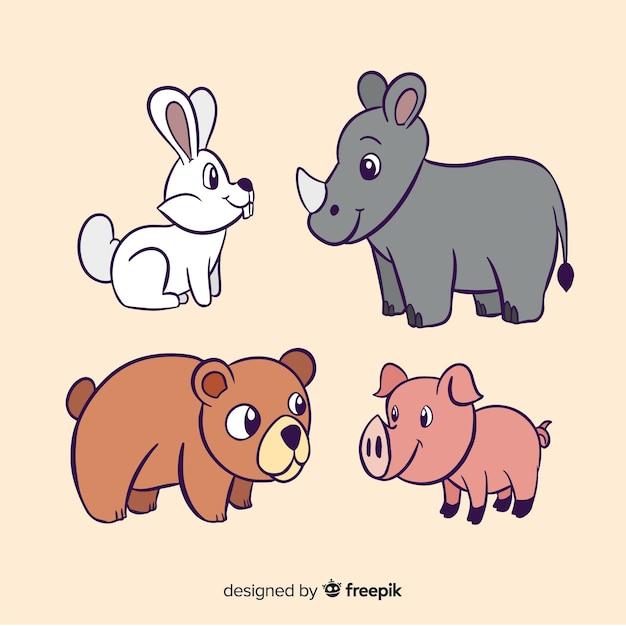 Плоский дизайн красочных животных иллюстрированный пакет Бесплатные векторы
