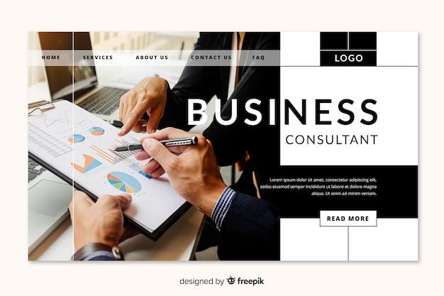 ビジネスコンサルタントのランディングページ 無料ベクター