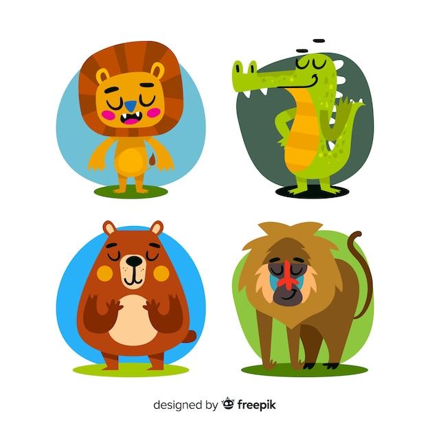 Плоский дизайн мультфильм животных пакет Бесплатные векторы