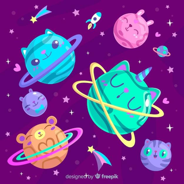 Набор красочных планет из солнечной системы Бесплатные векторы