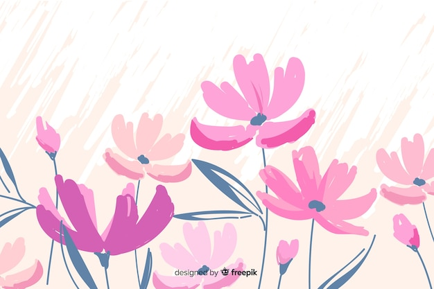 手描きのかわいい花の背景 無料ベクター