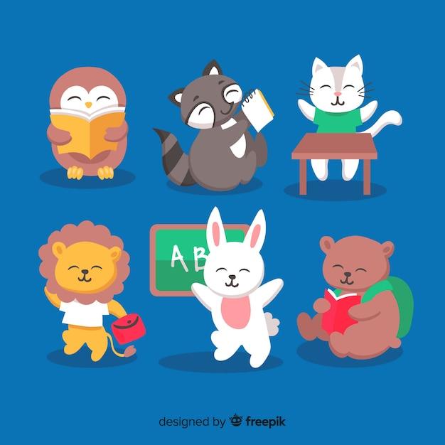Набор рисованной животных обратно в школу Бесплатные векторы