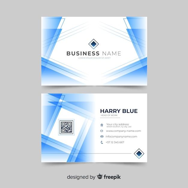 ロゴと抽象的な白と青の名刺 無料ベクター