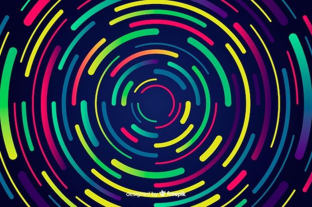 幾何学的なネオン円の背景 無料ベクター