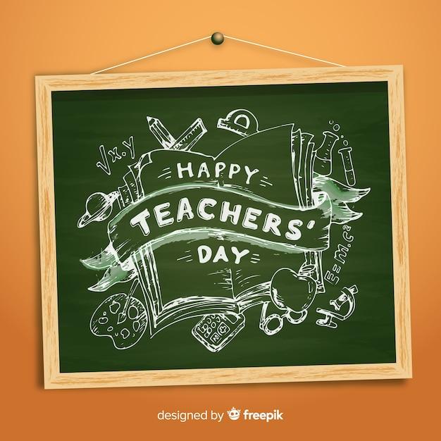 День учителя с надписью Бесплатные векторы