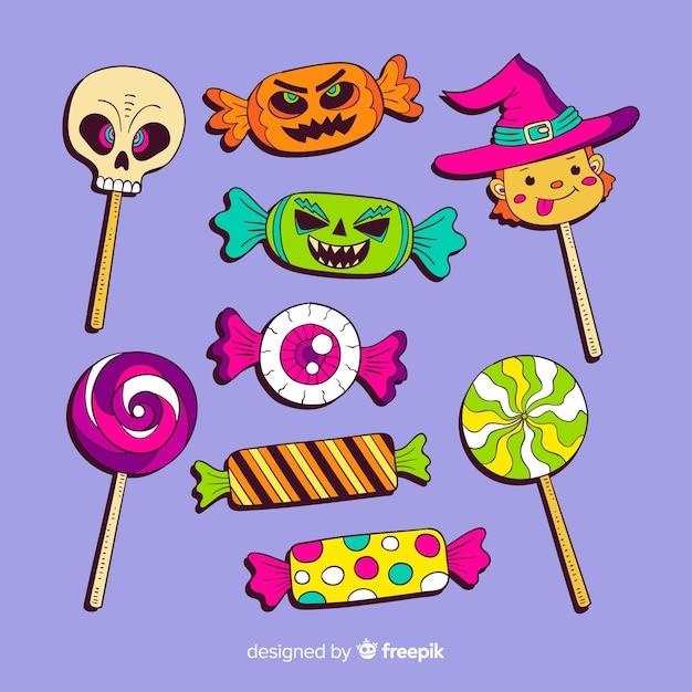 Коллекция рисованной конфеты хэллоуин Бесплатные векторы
