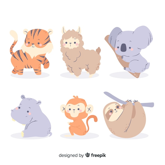 手描きのカラフルな動物セット 無料ベクター