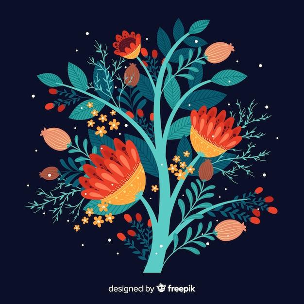 Плоские красочные цветочные ветви на синем фоне Бесплатные векторы