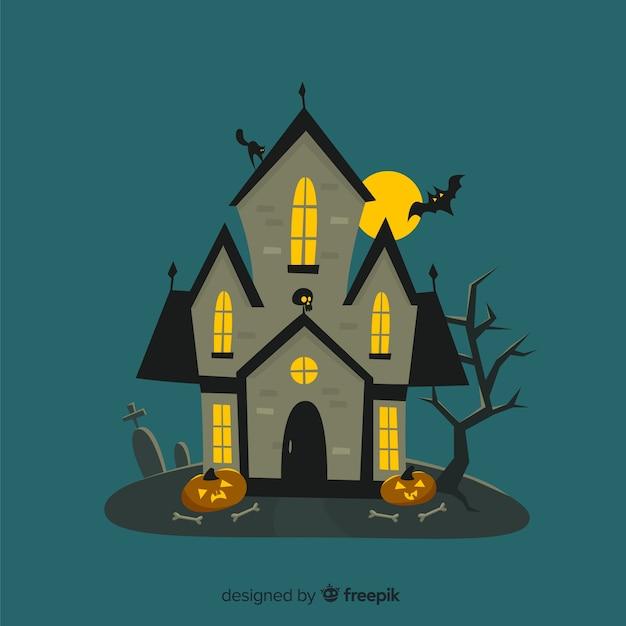 Мультфильм хэллоуин дом с деревьями Бесплатные векторы