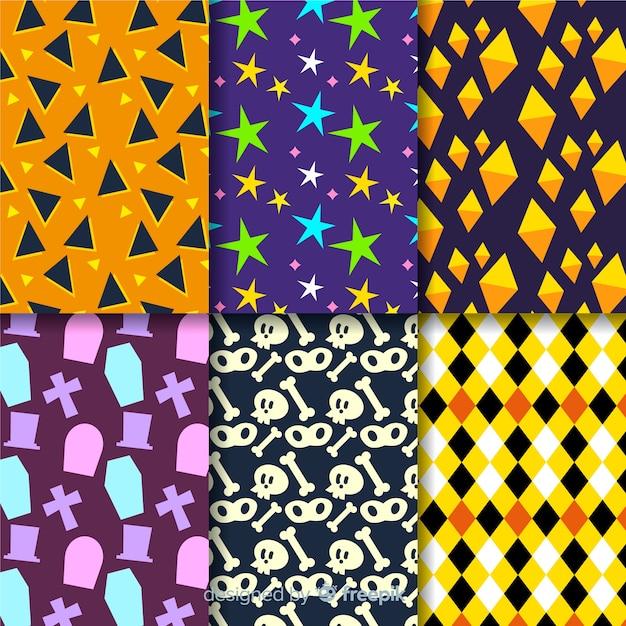 幾何学的なハロウィーンパターンコレクション 無料ベクター