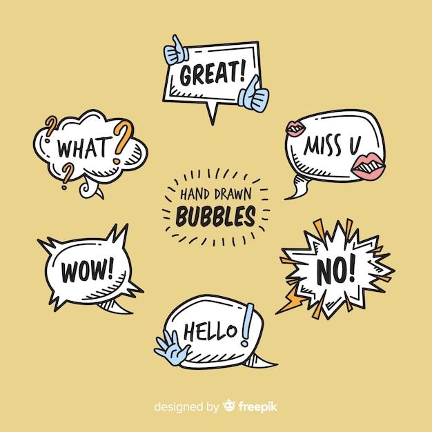 Ручной обращается речи пузыри на коричневом фоне Бесплатные векторы