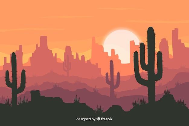 Пустынный пейзаж с кактусом Бесплатные векторы