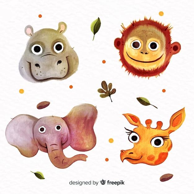 Плоский дизайн набор милых животных Бесплатные векторы
