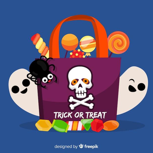 Плоская сумка на хэллоуин с конфетами и привидениями Бесплатные векторы