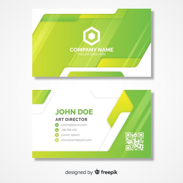 Светло-зеленый шаблон визитной карточки с логотипом Бесплатные векторы
