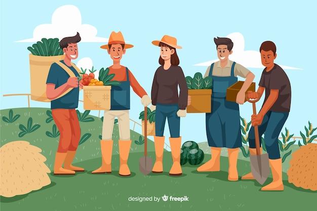 Люди, работающие вместе на ферме Бесплатные векторы